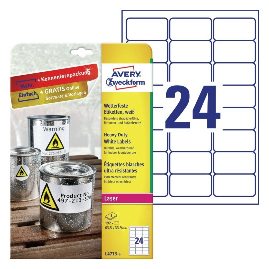 Heavy Duty Labels, White, Suitable For In- And Outdoor Use