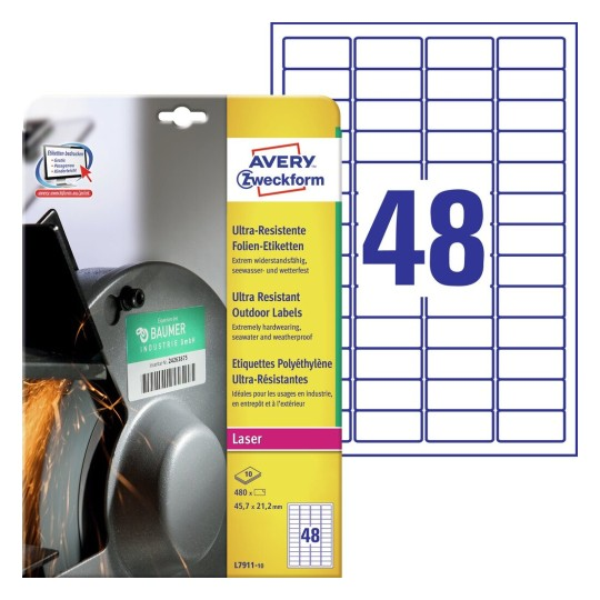 Ultra Resistant Outdoor Labels L7911-10
