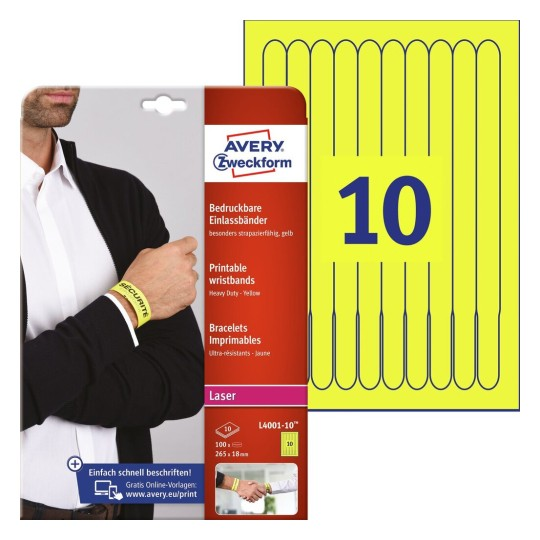 picture relating to Printable Wristbands titled Printable wristbands - For festivals and activities Avery